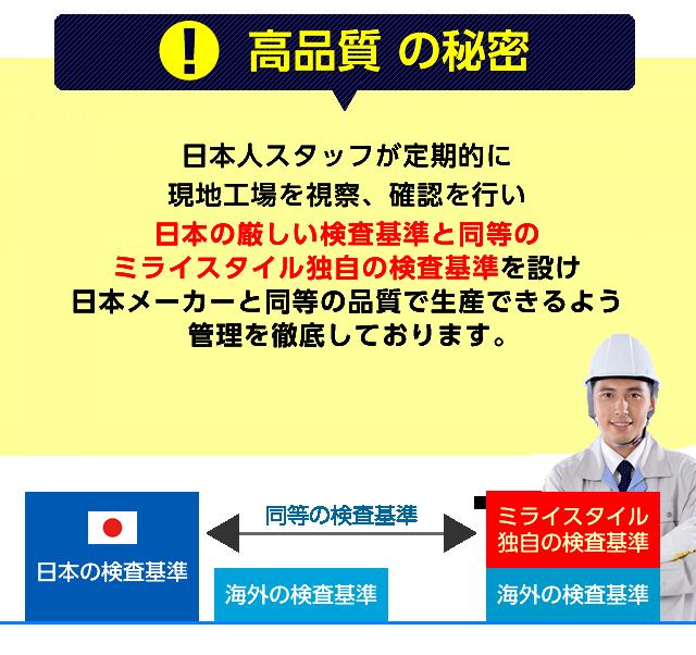 【高品質の秘密】日本人スタッフが定期的に現地工場を視察、確認を行い日本の厳しい検査基準と同等のミライスタイル独自の検査基準を設け日本メーカーと同等の品質で生産できるよう、管理を徹底しております。ミライスタイル監修で、品質に差はありません。